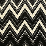 Black Big Detailed Chevron on Cream Hacci Sweater Knit Fabric