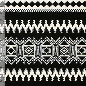 Black Detailed Ethnic Rows on Cream Hacci Sweater Knit Fabric