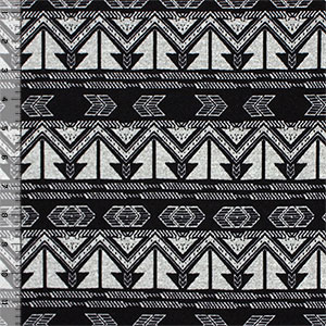 Black Ethnic Arrows on Heather Gray Hacci Sweater Knit Fabric