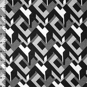 Gray Black Abstract Ponte de Roma Knit Fabric