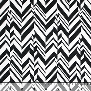 Half Yard Black White Broken Chevron Feathers Ponte de Roma Knit Fabric