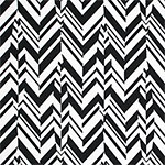 Black White Broken Chevron Feathers Ponte de Roma Knit Fabric