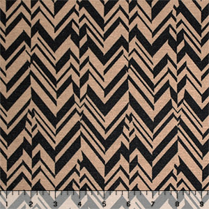 Half Yard Black Cafe Broken Chevron Feathers Ponte de Roma Knit Fabric