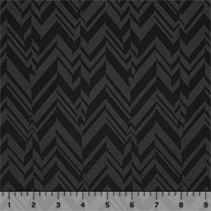 Black Charcoal Broken Chevron Feathers Ponte de Roma Knit Fabric