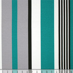 Teal Gray Black Vertical Multi Stripe Ponte de Roma Knit Fabric