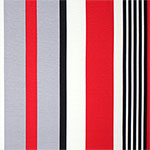 Red Gray Black Vertical Multi Stripe Ponte de Roma Knit Fabric