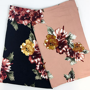 8e074eddcdc Gold Maroon Painted Floral on Black Double Brushed Jersey Spandex