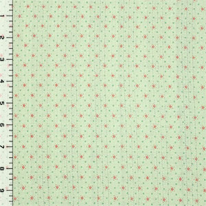 Stars and Dots on Light Green Embroidered Eyelet Cotton Jersey Knit Fabric