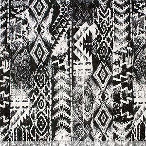 Black Distressed Vertical Ethnic on Ivory Cotton Jersey Blend Knit Fabric
