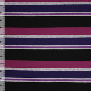 Purple Black Multi Stripe on Heather Gray Cotton Jersey Blend Knit Fabric