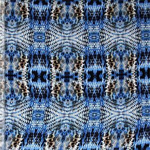 Blue Faux Snakeskin Cotton Jersey Blend Knit Fabric