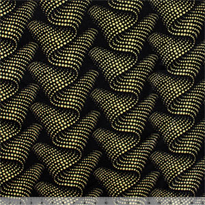 Mod Dotty Waves on Black Cotton Jersey Blend Knit Fabric