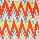 Orange Blue Big Shaky Chevron Cotton Jersey Blend Knit Fabric
