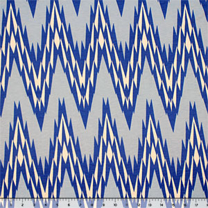 Royal Baby Blue Big Shaky Chevron Cotton Jersey Blend Knit Fabric