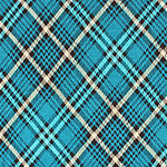 Teal Blue Black Plaid Cotton Jersey Blend Knit Fabric