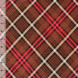 Brown Black Plaid Cotton Jersey Blend Knit Fabric