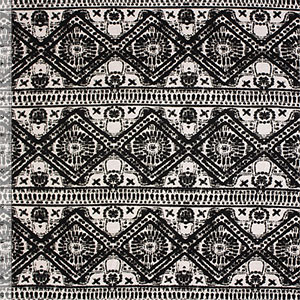 Black Ivory Ethnic Diamond Rows Cotton Jersey Blend Knit Fabric