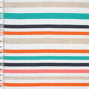 Half Yard Isabel Stripe Lino Coral Cotton Jersey Blend Knit Fabric