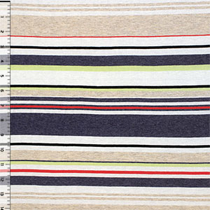 Half Yard Eyecatcher Stripe Azulon Lino Cotton Jersey Blend Knit Fabric