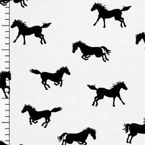 Horse Play on White Modal Cotton Jersey Blend Knit Fabric
