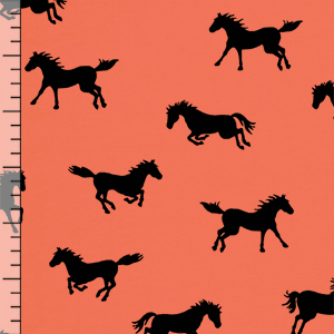 Horse Play on Coral Modal Cotton Jersey Blend Knit Fabric