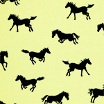 Horse Play on Yellow Modal Cotton Jersey Blend Knit Fabric