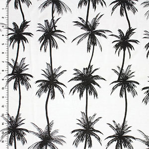 Palm Tree Silhouettes on White Cotton Jersey Blend Knit Fabric