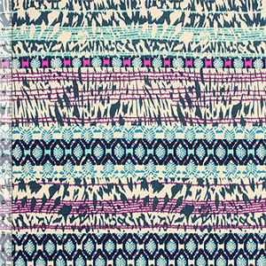 Teal Magenta Animal Ethnic Cotton Jersey Blend Knit Fabric