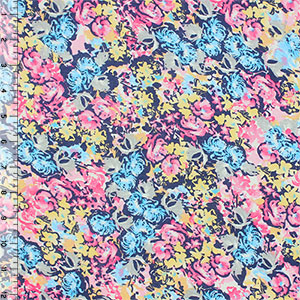 Floral Garden on Navy Blue Cotton Jersey Blend Knit Fabric