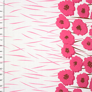 Magenta Pink Poppy Floral Border Print Cotton Jersey Blend Knit Fabric