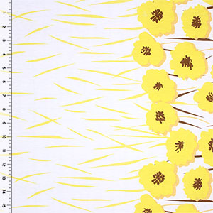 Lemon Yellow Poppy Floral Border Print Cotton Jersey Blend Knit Fabric