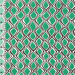 Kelly Green Mod Diamonds Cotton Jersey Blend Knit Fabric