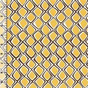 Mustard Yellow Mod Diamonds Cotton Jersey Blend Knit Fabric