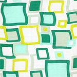 Green Mod Squares Cotton Jersey Blend Knit Fabric