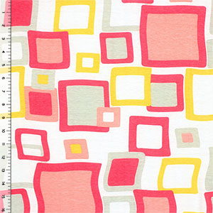 Pink Mod Squares Cotton Jersey Blend Knit Fabric