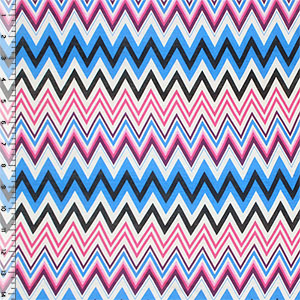 Pink Blue Multi Chevron Cotton Jersey Blend Knit Fabric