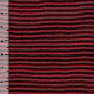 Black Red Pin Stripe Cotton Jersey Knit Fabric