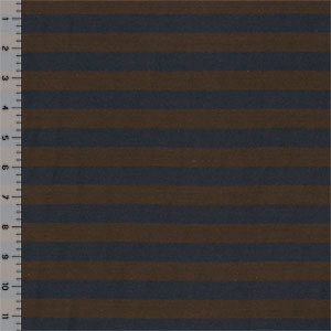 Navy Blue and Brown Stripe Cotton Jersey Knit Fabric