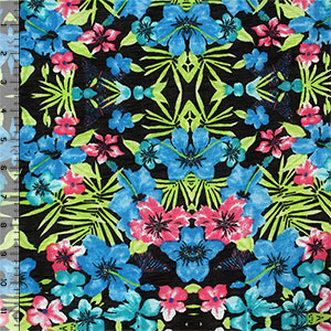 Pink Blue Tropical Floral on Black Cotton Jersey Blend Knit Fabric