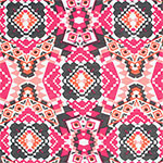 Pink Gray Ethnic Kaleidoscope Cotton Jersey Blend Knit Fabric