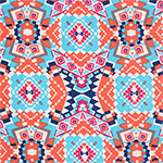 Blue Coral Ethnic Kaleidoscope Cotton Jersey Blend Knit Fabric