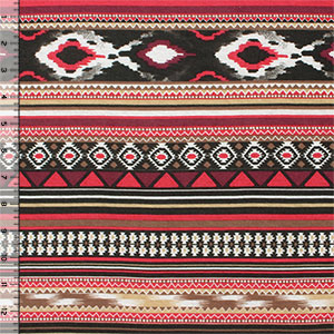 Red Gold Navajo Stripes Cotton Jersey Blend Knit Fabric