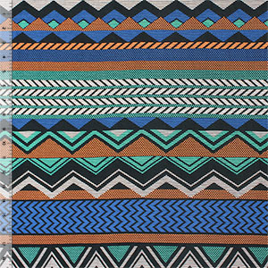 Blue Orange Dashed Chevron on Black Cotton Jersey Blend Knit Fabric