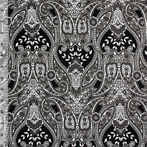 Black Gray Paisley Baroque Cotton Jersey Blend Knit Fabric
