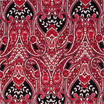 Black Red Paisley Baroque Cotton Jersey Blend Knit Fabric