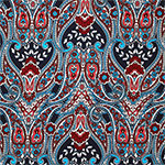 Blue Coral Paisley Baroque Cotton Jersey Blend Knit Fabric