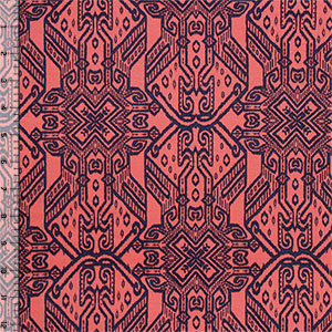 Purple Coral Aztec Crosses Cotton Jersey Blend Knit Fabric