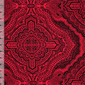 Black Henna on Coral Red Cotton Jersey Blend Knit Fabric