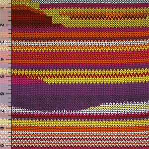 Sunset Arrow Head Stitches Cotton Jersey Blend Knit Fabric
