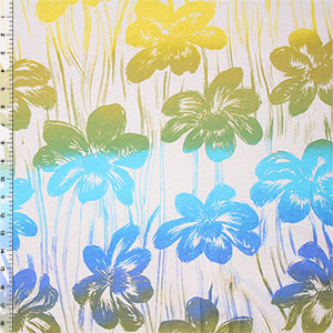 Gradient Tropical Floral Cotton Jersey Knit Fabric